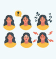 set girl woman facial emotions vector image vector image