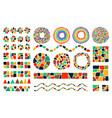 set of mosaic design elements vector image