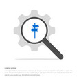 signpost icon search glass with gear symbol icon vector image