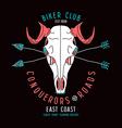 Skull animal biker club emblem vector image