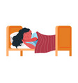 small child sleeping in bed napping kid at home vector image vector image