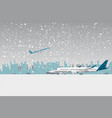 snowfall in airport vector image vector image