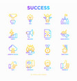 success thin line icons set vector image