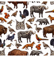 wild animals sketch seamless pattern background vector image vector image