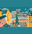 winter cityscape with a christmas market vector image