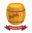 wooden barrel of rum with ribbon banner on the vector image