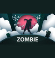zombie horror cartoon paper vector image