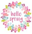 Hello spring pink watercolor wreath card vector image