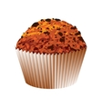 Muffin with chocolate cake object vector image