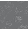 Halloween doodles seamless pattern vector image