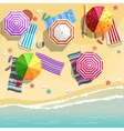 Aerial view of summer beach in flat design style vector image vector image