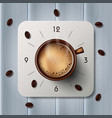 alarm clock with hot coffee mugs and coffee beans vector image vector image