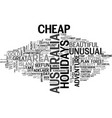 australia cheap holidays to three cities text vector image vector image