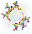 beautiful butterflies on colorful background vector image