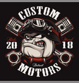 biker bulldog biker t-shirt design color version vector image vector image