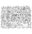 black and white people large group vector image vector image