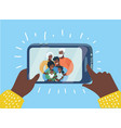 black family taking a selfie photo vector image vector image