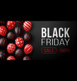 black friday sale horizontal banner with dark an vector image vector image