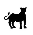 black silhouette standing lion vector image vector image