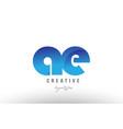 blue gradient ae a e alphabet letter logo vector image vector image