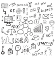 Business icons set sketch Business signs hand vector image vector image