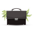 closed briefcase and sticking out dollar bills vector image