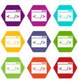 code window icon set color hexahedron vector image vector image