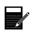 contour paper document with pencil tool design vector image vector image