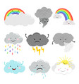 cute emotional clouds weather icons vector image