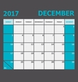 December 2017 calendar week starts on Sunday vector image vector image
