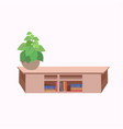 decoration plant in pot on wooden table cafe vector image