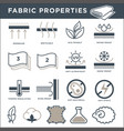 fabric properties signs monochrome isolated vector image
