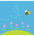 flying bee dash heart in sky card vector image