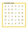 food and kitchen flat design icon set vector image