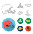 football player helmet capitol territory map vector image