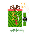gift box for boy with watch vector image vector image