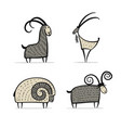goats and rams collection for your design vector image