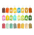 happy birthday banner paper cut title on colorful vector image