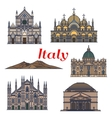 Historic buildings and sightseeings of Italy vector image