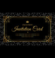 invitation card black and gold vintage style vector image vector image