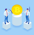 isometric cryptocurrency business people miner and vector image vector image