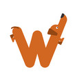 letter w is dog pet font dachshund alphabet vector image vector image