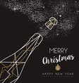 Merry christmas happy new year deco bottle outline vector image vector image