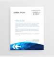 modern blue letterhead design with arrow shape vector image vector image