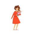 mother with disheveled hair holding her little vector image vector image