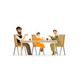 muslim family sitting at dinner table mother vector image