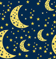 Night Sky Seamless Pattern Moon and Stars vector image vector image
