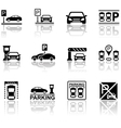 parking icons with reflection vector image vector image