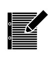 pencil and notebook page icon vector image vector image