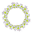 round floral shape of leaves and berries and copy vector image